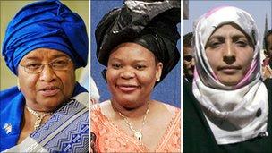 Ellen Johnson-Sirleaf, President of Liberia, Leemah Gwobee, Liberian activist, and Tawakul Karman, Yemeni activist